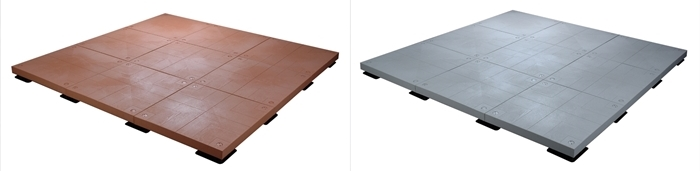 UDECX composite deck surface pads in grey and red